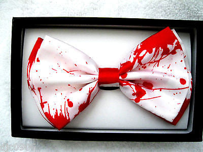 WHITE RED BLOOD SPLATTER ADJUSTABLE BOW TIE BOWTIE-BLOOD BOW TIE-NEW GIFT BOX!v1