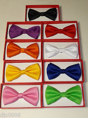 BOYS GIRLS KIDS CLIP-ON Elastic Bow Ties Set 9 RED,BLUE,PINK,GREEN,ORANGE,BLACK