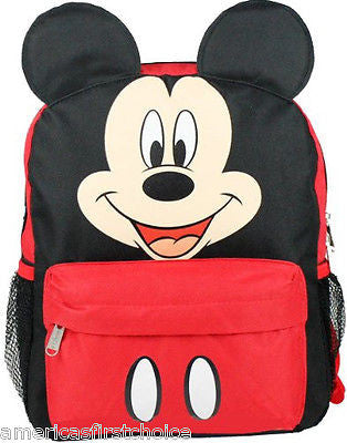 "Mickey Mouse with Ears School 12"" Backpack Back Pack by Disney-New with Tags!!"