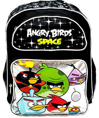 "Angry Birds Space Black Silver School 16"" Backpack!Angry Birds Backpack-New!!!"