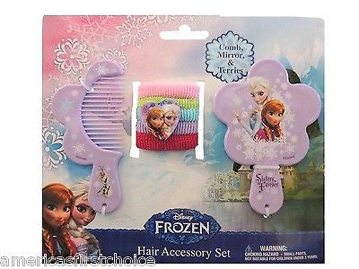Disney Frozen Elsa Light Blue Hair Accessory Comb,Mirror,&Ponytail Holders-New!