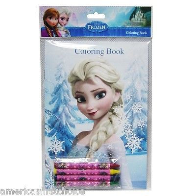 Disney Frozen (4 different designs) Elsa/Anna/Olfa Coloring Book & Crayons-New!