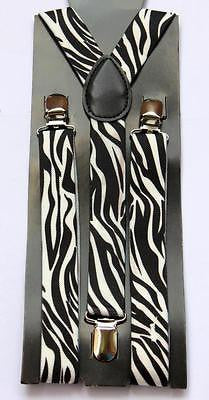 Unisex White and Black Zebra Print Y-Style Back suspenders with polished clips