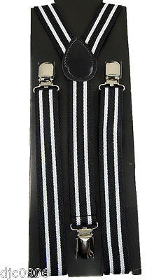 Goth Unisex Men's Women's Black White Diagonal Stripes Adjustable Suspenders-New