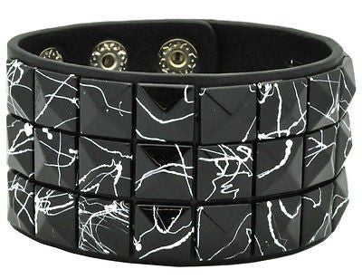 Black and Purple Crack line Checkered Studded Black Leather Bracelet-Brand New!