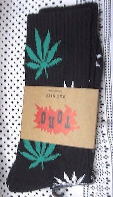 Men's Pair of Low Cut Black with Green MJ Weed Leaves Socks,Size 10-13-New!