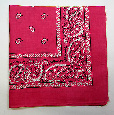 100% Cotton Paisley Hot Pink Bandanna Double Sided Head Wrap Scarf Wristband-New