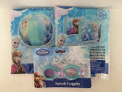 "Disney Frozen Olaf &Elsa 20"" Inflatable Beach Ball,Floating Arm Floats,&Goggles"