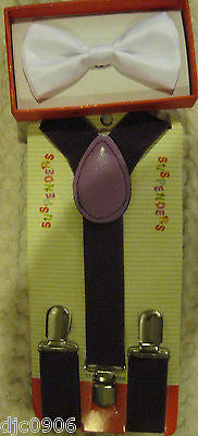 Solid Purple Kids Boys Girls Y-Back Adjustable Bow Tie & Purple Kid suspenders-2