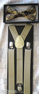 Tan Beige Black Plaid Adjustable Bowtie & Beige Adjustable Suspenders Combo-New!