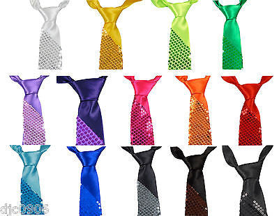"Unisex Goth Men's Neon Orange Sequin Wedding Fashion Neck tie 56"" L x 3"" W-New"