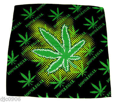 Bob Marley 100% Legal Marijuana Bandanna Double Sided Face Mask Head Wrap Scarf Wristband