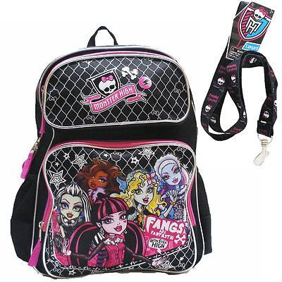 "Monster High Large 16"" Backpack with compartments with Monster High Lanyard-New!"