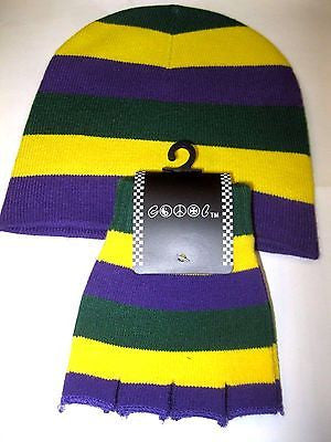 Mardi Gras Purple,Yellow,and Green Beanie Ski Cap with Matching Gloves Combo-New