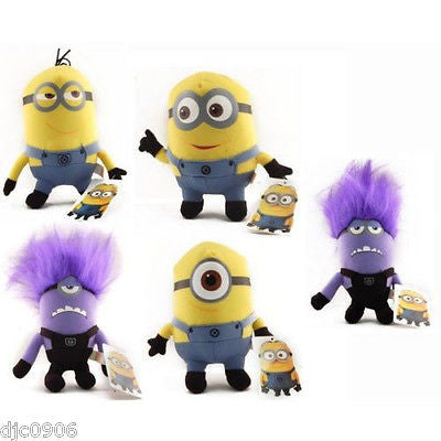Despicable Me 2 Set of 5 Plushes Stuart,Jerry,Tim,and two Evil Minions-New w/Tag