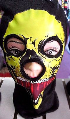 Beanie Full Face Yellow Skull face open mouth mask costume halloween attire-New!