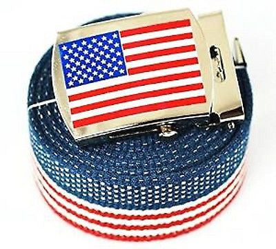 "Canvas Military ""US Flag"" Red White Blue Stripes Web Belt & Matching Belt Buckle"