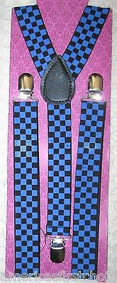 Unisex Large Navy Blue Black Checkered Adjustable Y-Style suspenders-New in Pkg