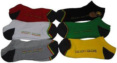 Body glove Men's Low Cut Rasta Socks Color Multi, Size 10-13, (Pack of 6)-New!
