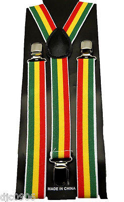 Unisex Rasta Green/Yellow/Red Jamician Adjustable Y-Style suspenders-New in Pkg