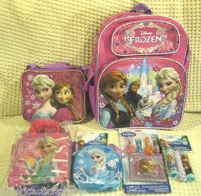 "Disney Frozen Anna and Elsa 16"" Purple/Pink Backpack & Lunch Bag-Brand New!"
