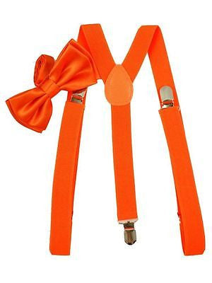 Brand New Awesome Neon Orange Bow Tie and Suspenders Combo Y-Back Set --New!