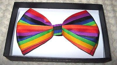 RAINBOW STRAIGHT STRIPED STRIPES ADJUSTABLE  BOW TIE BOWTIE-NEW IN BOX!VERSION5
