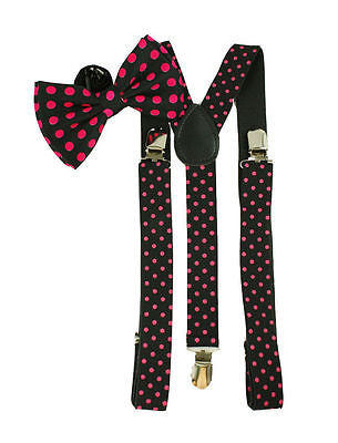 Black with Pink Polka Dots Bowtie& Adjustable Suspenders Combo Y-Back Set --New!