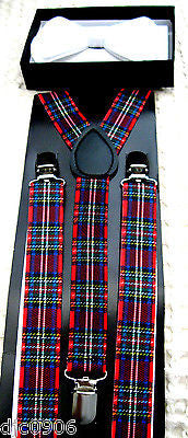 SOLID WHITE TUXEDO ADJ BOW TIE+RED BLUE PLAID ADJUSTABLE SUSPENDERS COMBO!!