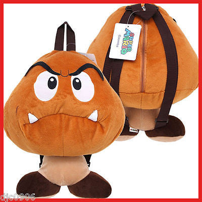 "Nintendo Mario Brothers Goomba 18"" Plush Backpack Licensed Tote- NEW w/ Tags!!!"