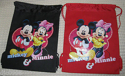 2 MICKEY MOUSE & MINNIE MOUSE DRAWSTRING BAG BACKPACK TRAVEL STRING POUCHES-NEW