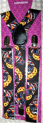 Solid Black Adjustable Bow Tie & Crazy Clowns Flames Hair Suspenders Combo-New