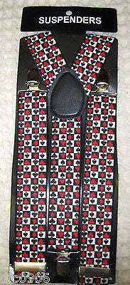 "Poker Player Cards Neck Tie and Poker 1"" Y-Back Adjustable Suspenders Combo-NewQ"