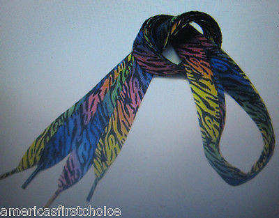 Premium Flat Rainbow Color Zebra Animal Safari Design Rockabilly Punk Shoe laces