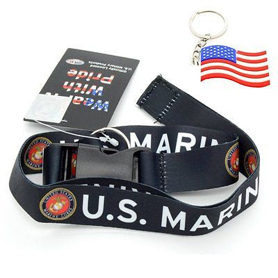 "Official Licensed Products Military ""US MARINES"" Black Lanyard-Brand New!"