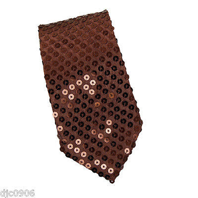 "Unisex Goth Men's Solid Brown Sequin Wedding Fashion Neck tie 56"" L x 3"" W-New"