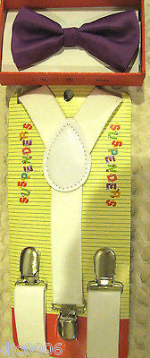 Green Kids Boys Girls Y-Style Back Adjustable Bow Tie & White Kid suspenders-New