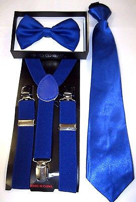 "Teen's White Adjustable Bow Tie & White 1"" Y-Back Adjustable Suspenders-New!"