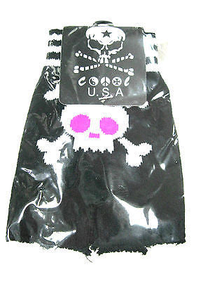 Skulls and Crossbones with Punk Ribbons Fingerless Gloves-Brand New with Tags!