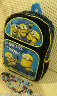"Despicable Me 2 MINION Minions At Work 16"" Backpack +RANDOM Minions Lanyard-New!"