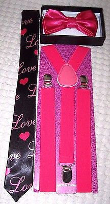 Black with White Pucker Lips Hearts Necktie,& Solid White Y-Back Suspenders Set