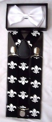 Black Tuxedo Bow Tie & Fleur de lis Design New Orleans Saints Y-Back Suspenders