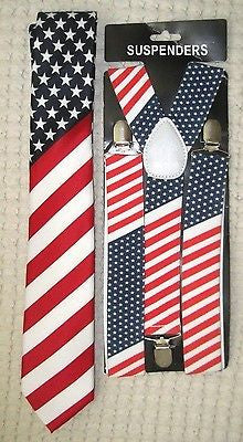 "US Flag American Flag 1 1/2"" Adjustable Suspenders&US Patriotic Flag Neck Tie-v1"