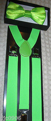 LIME GREEN Adjustable Bow Tie & LIME GREEN Adjustable Suspenders Combo-Brand New