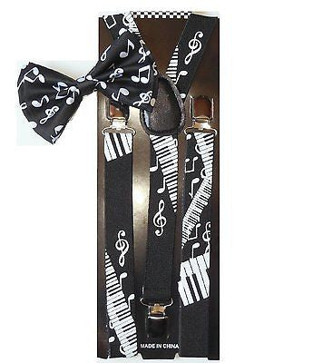 Black White MUSICAL NOTES PIANO KEYS Suspenders + musical notes Bowtie Bow Tie