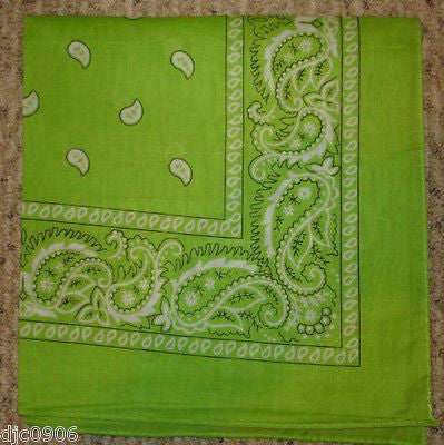 100%Cotton Paisley Lime Green Bandana Double Sided Head Wrap Scarf Wristband-New