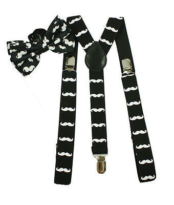 White with Black Mustaches Adjustable Suspenders+White w/ Black Mustache Bow Tie