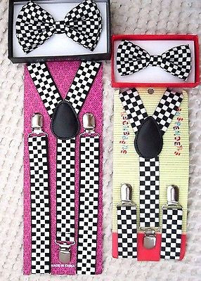Father & Son Black & Gold Musical Notes Adjustable Bow Tie & Suspenders Combo