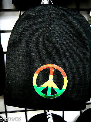 Large Rasta Red,Yellow,& Green Peace Sign Symbol on Black Hat Cap Beanie-New!!