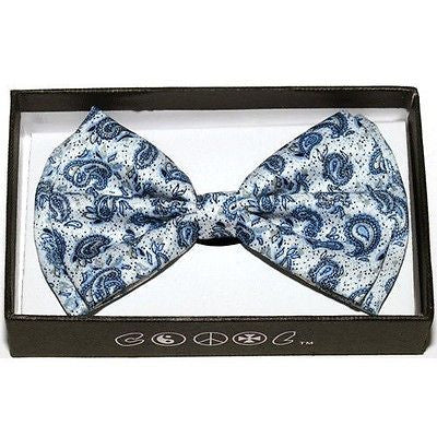 DARK BLUE SILVER PAISLEY PATTERN RETRO TUXEDO ADJUSTABLE  BOW TIE BOWTIE-NEW!